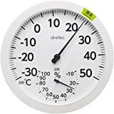 ドリテック(dretec) 温度計 ホワイト W16×D1.9×H16cm(壁掛け時) O-320WT