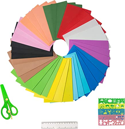 FLOAT ISLAND 40 Sheets Craft Foam EVA A4 Size 2mm Thick with Scissor DIY Handicraft and School Projects Red /& Green Stencils and Ruler for Kids Classroom Party