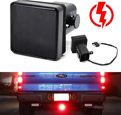 "2/"" Trailer Hitch Receiver Cover With 15 LED Brake Leds Light Tube Cover"