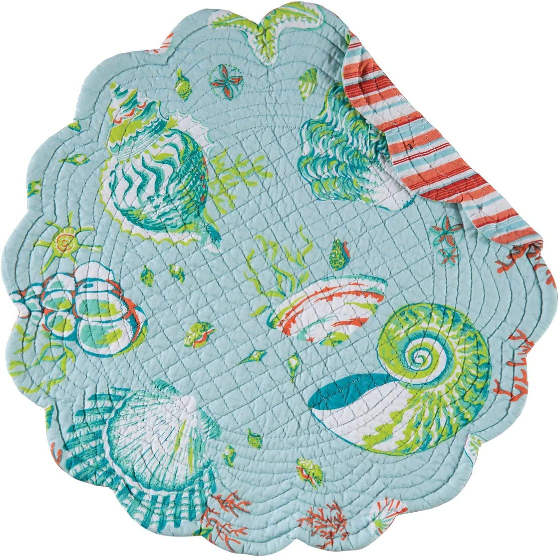 C&F Home Laguna Breeze Cotton Quilted Round Cotton Reversible Machine Washable Placemat Set of 6 Round Placemat Set of 6 Blue