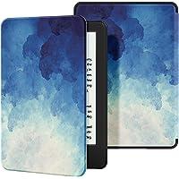 Ayotu Funda de Piel para Nuevo Kindle 10ª generación 2019-Funda Impermeable bellamente Pintada para Despertar/Dormir automáticamente (no Adecuado para los Modelos 2018),Luz de Luna Azul