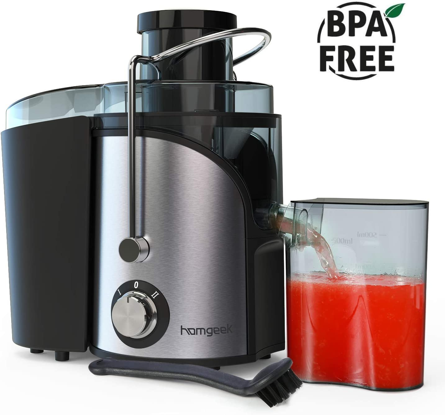 Juicer, Homgeek vegetable Juicer Machines, Dual Speed small Juicer 400W with Anti-drip Kit Design, Easy to Clean, Stainless Steel, BPA-FREE