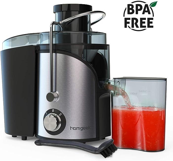 Juicer, Homgeek vegetable Juicer Machines, Dual Speed small Juicer 400W with Anti-drip Kit Design, Easy to Clean, Stainless Steel, BPA-FREE