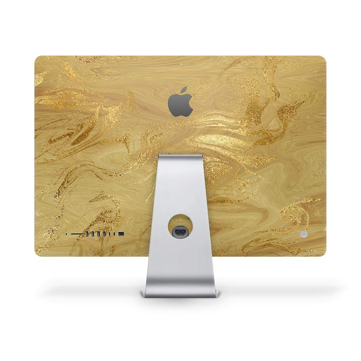 Molten ゴールドデジタルホイル スワール V5デザイン Skinz フルボディキット 27インチ iMac 5k A1419 デスクトップコンピュータモニターケース&スタンド用 - プレミアム3Mビニールデカールラップカバー   B07P7MB3CV