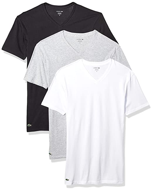 cfdf7c8a1c Lacoste Men's 3-Pack Essentials Cotton V-Neck T-Shirt