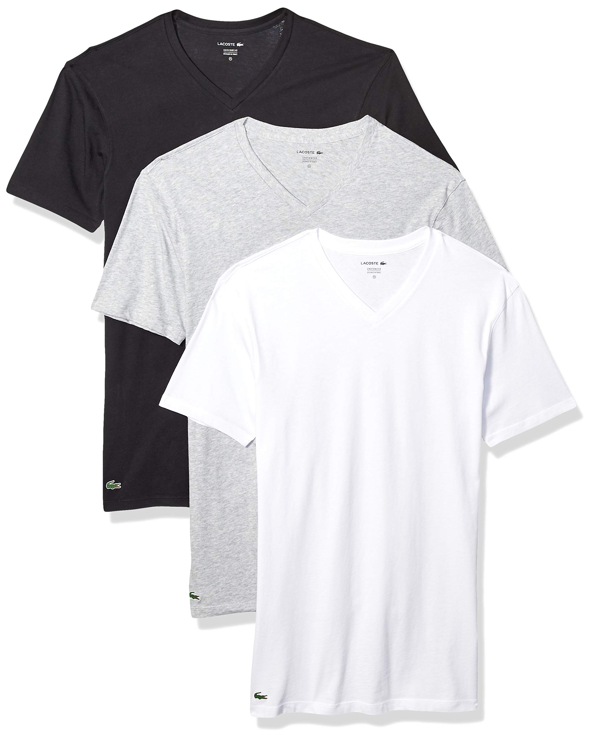 3d96f751 Galleon - Lacoste Men's Classic Fit Cotton V Neck Tee, Multipack, Black,  Grey, White, Medium