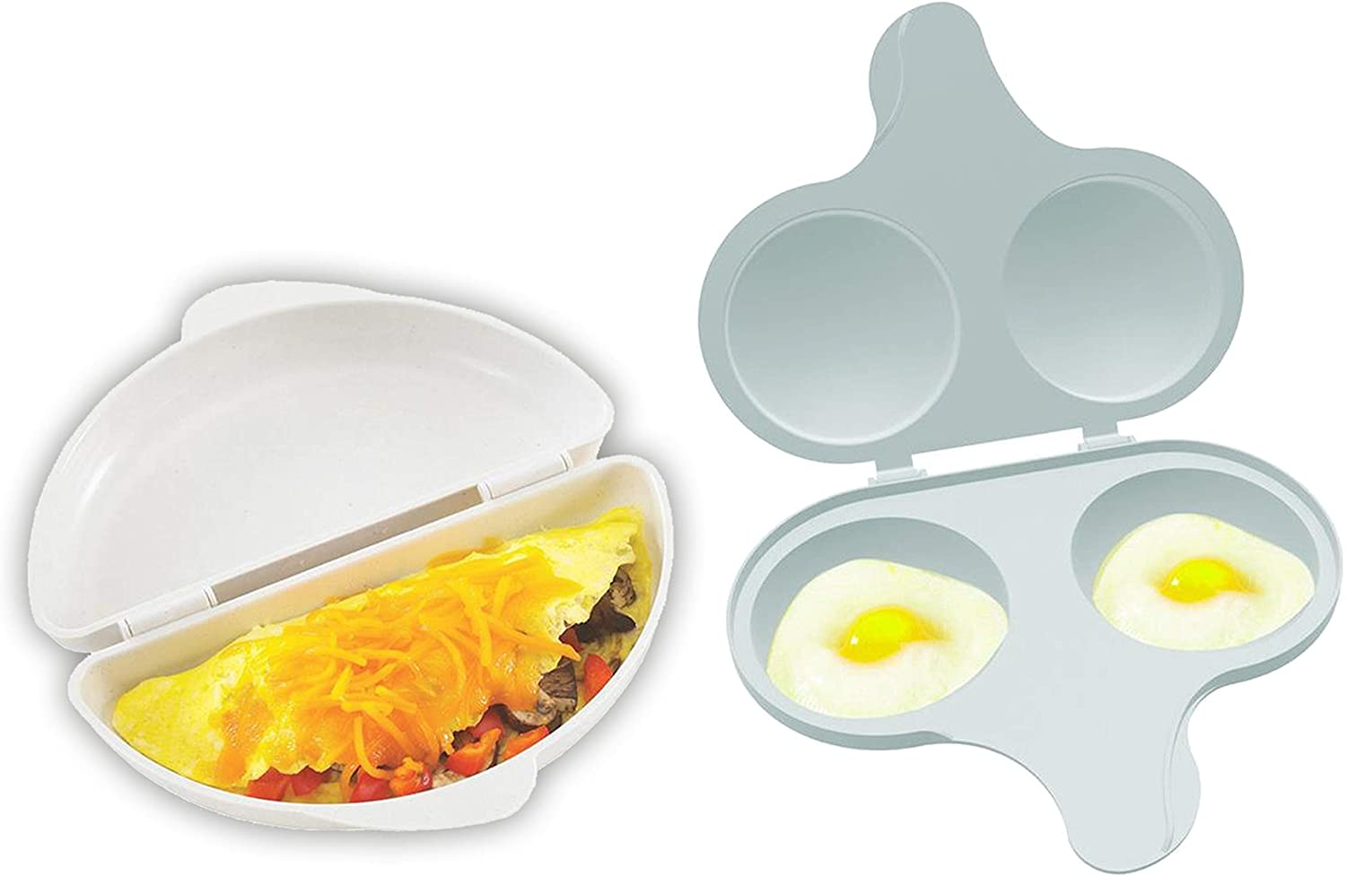 Nordic Ware Easy Breakfast Set - Omelet Pan and 2 Cavity Egg Poacher (Microwaveable)