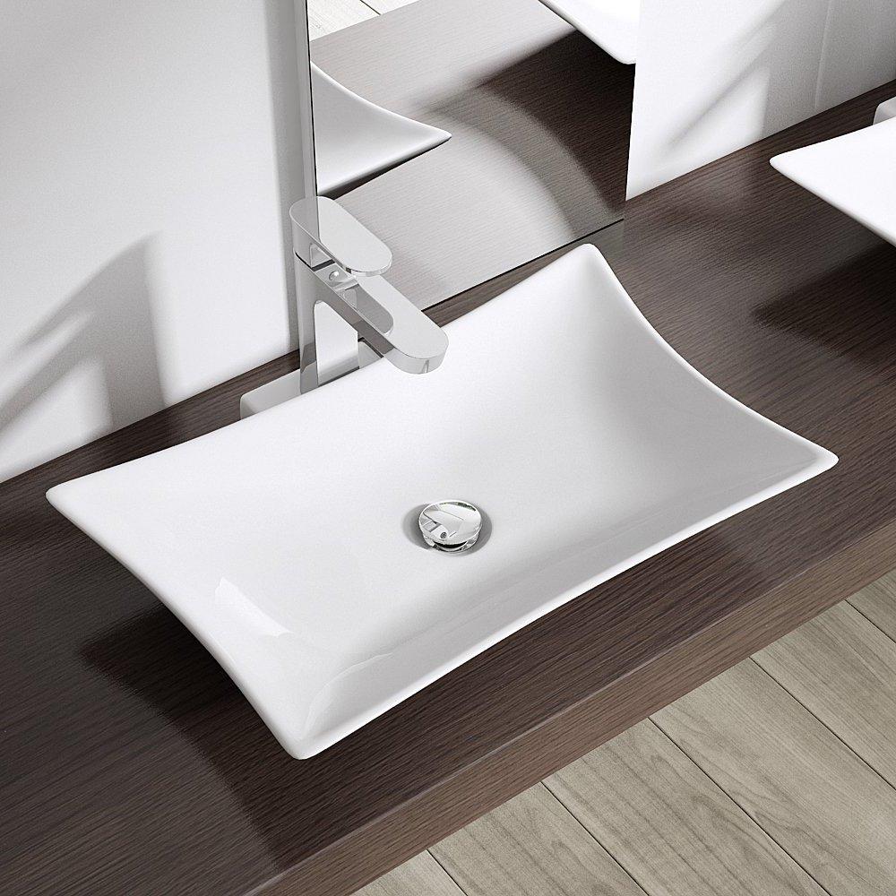 BTH: 56,5x37,5x11 cm Design Aufsatzwaschbecken Brüssel891, aus ... | {Waschbecken design eckig 59}