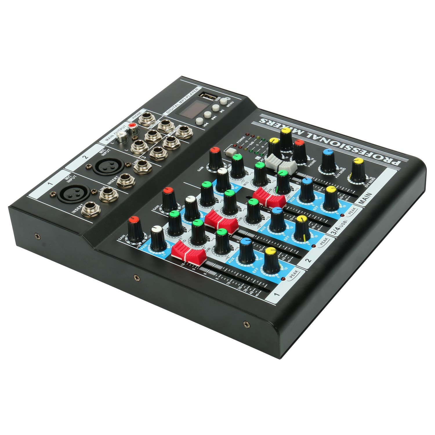 4 Channel Mixing Console Digital Audio Mixer with USB Audio Interface /& LCD display for Home Studio Recording DJ Network Live Broadcast Karaoke