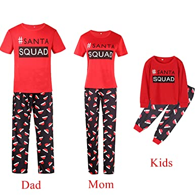 a76a31641fc5f YHBAO Family Matching Christmas Pajamas Short Sleeve Tops Santa Squad  Parent-Child Xmas Gifts (