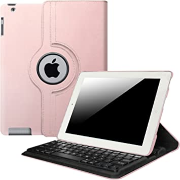 Hot Pink 360 Rotating Leather Case Cover with Bluetooth Keyboard for Ipad 2 3 4
