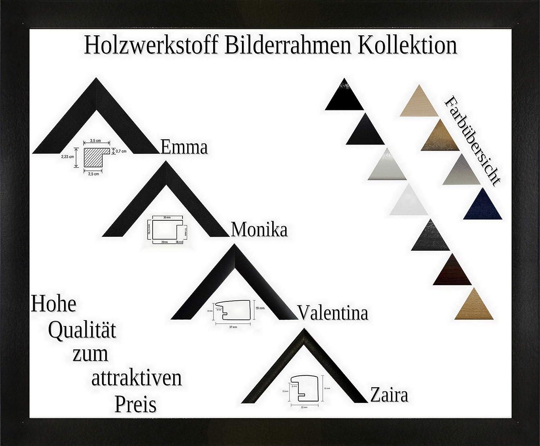 Emma Holzwerkstoff Bilderrahmen robust kantig 70 x 100 cm Verglasung, Farbe und Größe wählbar 100x70 cm, Hier Schwarz Hochglanz mit Acrylglas Antireflex 1 mm