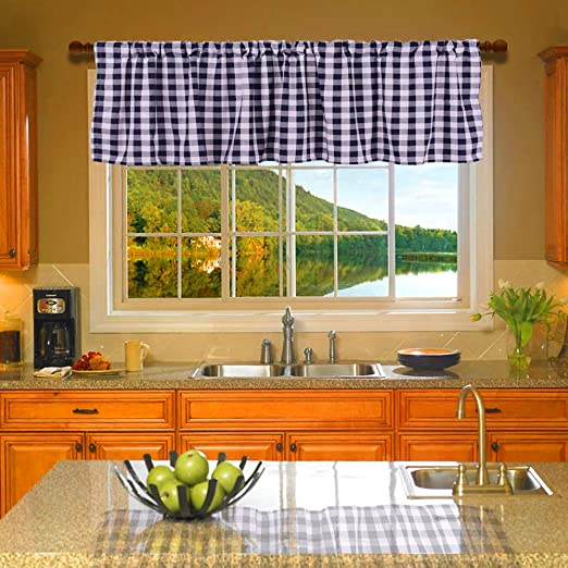 """Lined Classic Red And White Check Valance 16/"""" x 72/"""" 100/% Cotton"""