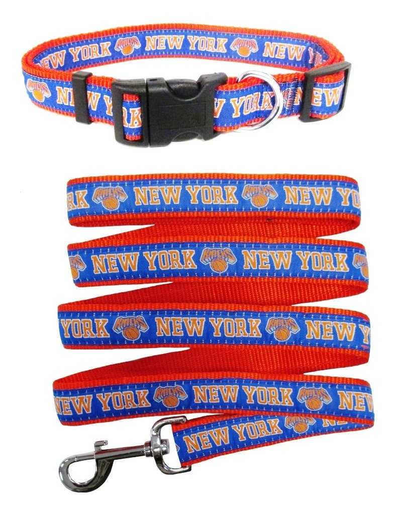 New York Knicks Nylon Collar for Pets and Matching Leash (NBA Official by Pets First) Size Medium