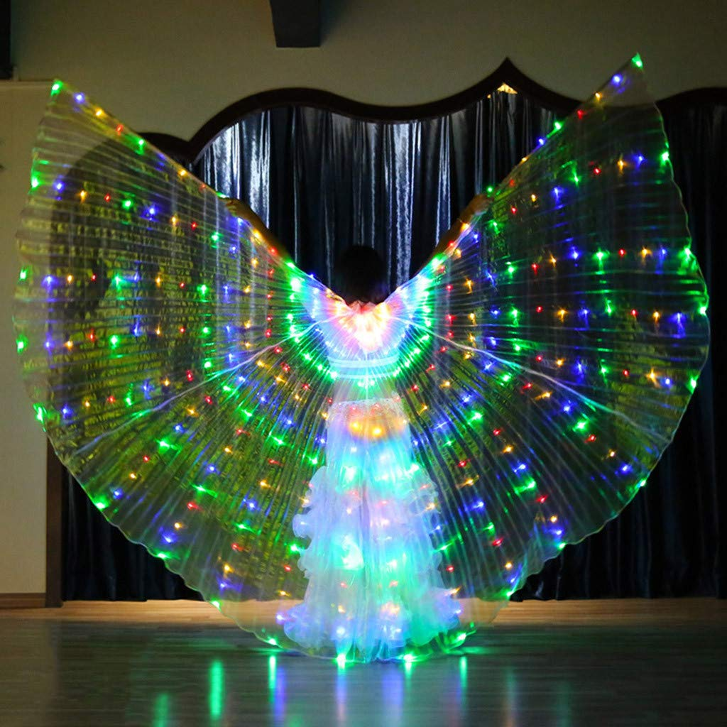Women LED Glow Belly Dance Wings Colorful Wings with Telescopic Stick Costume Accessory Stoles Coat Accessory For Dance Party Cosplay Stage Performance Props Lomsarsh Performance Wings