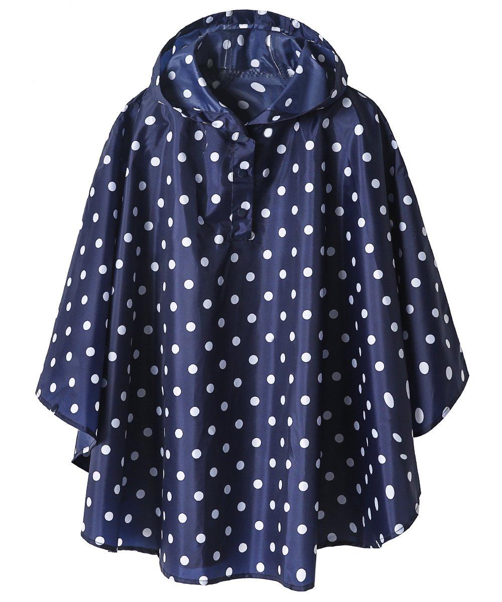 Lightweight Kids Rain Poncho Jacket Waterproof Outwear Rain Coat,Blue Polka Dot,M by SaphiRose