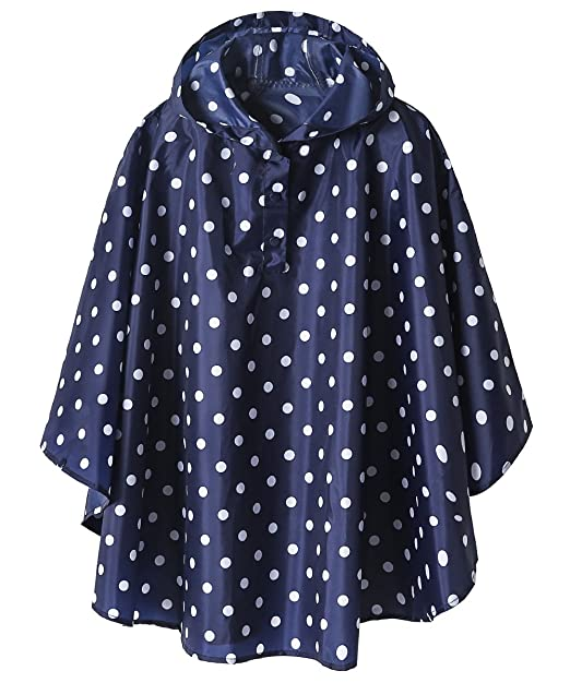 Lightweight Kids Rain Poncho Jacket Waterproof Outwear Rain Coat,Blue Polka Dot,XL best kids' raincoats