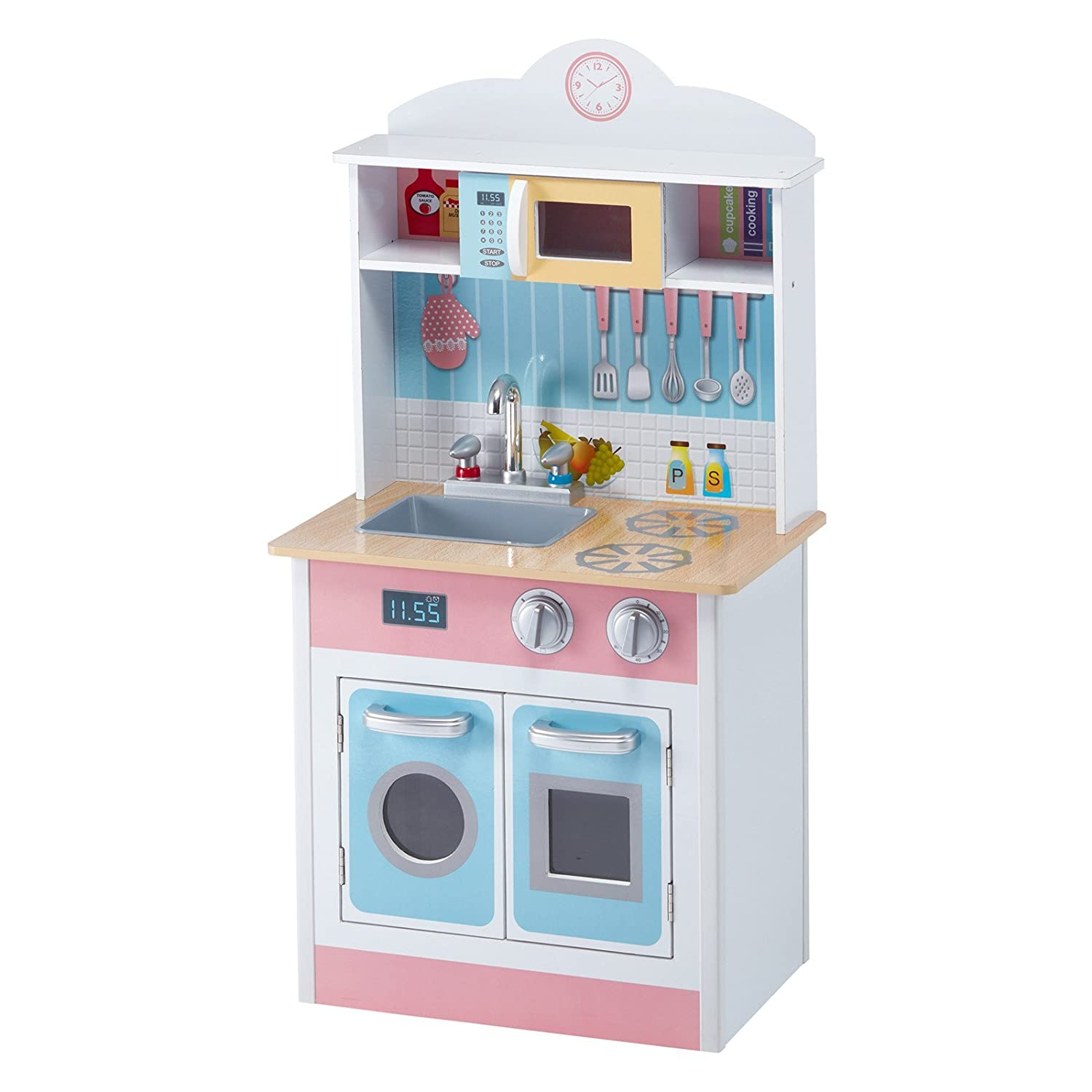 bab1b1c5897 Amazon.com  Teamson Kids Pastel Little Chef Wooden Play Kitchen for Toddler   Toys   Games