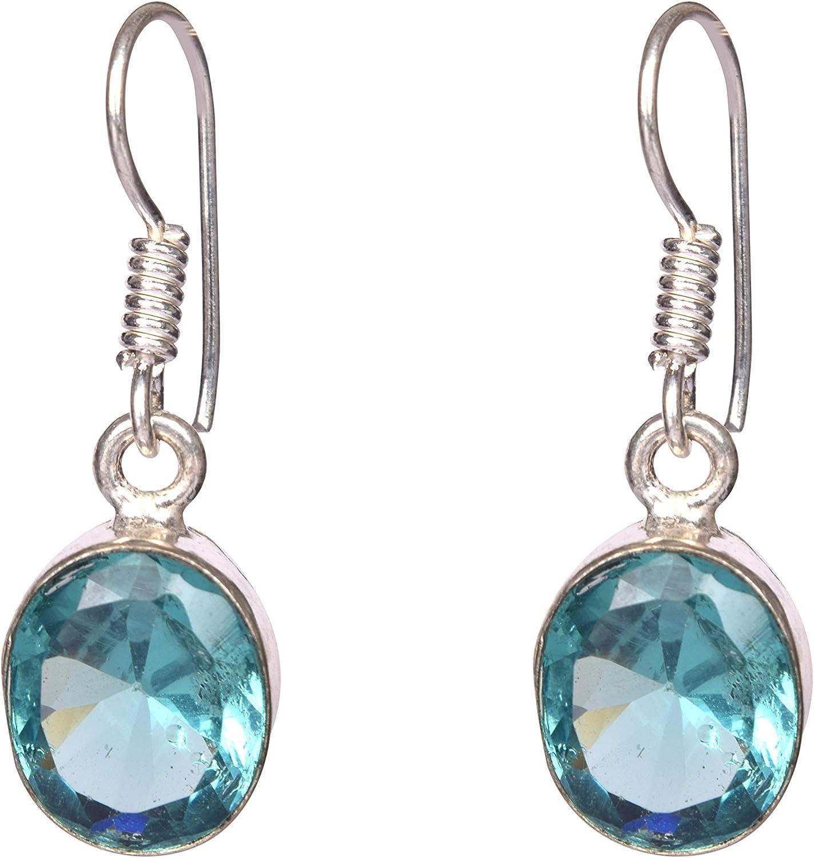 Gemhub - Pendientes colgantes de plata con piedras preciosas de aguamarina azul para mujer y niña
