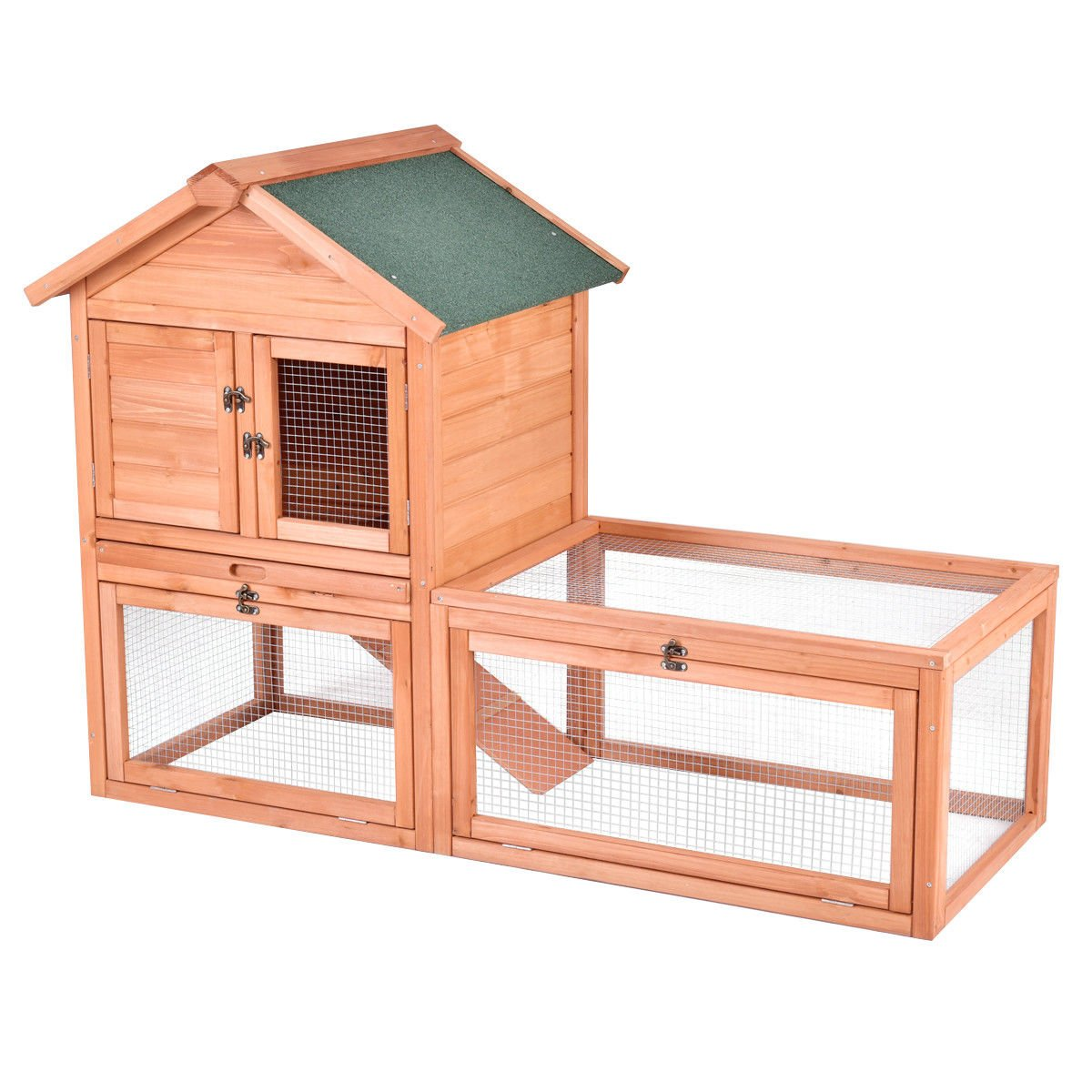 56'' Pet Supplies Wooden House Rabbit Hutch Chicken Coops Cage w Tray Run Outdoor