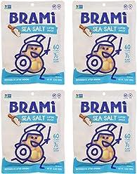 BRAMI Lupini Bean Snack, Sea Salt | Plant Protein, Vegan, Gluten-Free, Low Calorie, Zero Net Carb, Keto, Lightly Pickled, Mediterranean Legume | 5.3oz (150g), 4 Count
