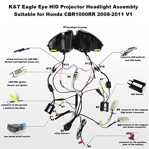amazon com: kt led angel eye headlight assembly for honda cbr1000rr  2008-2011 v1 white angel eye: automotive