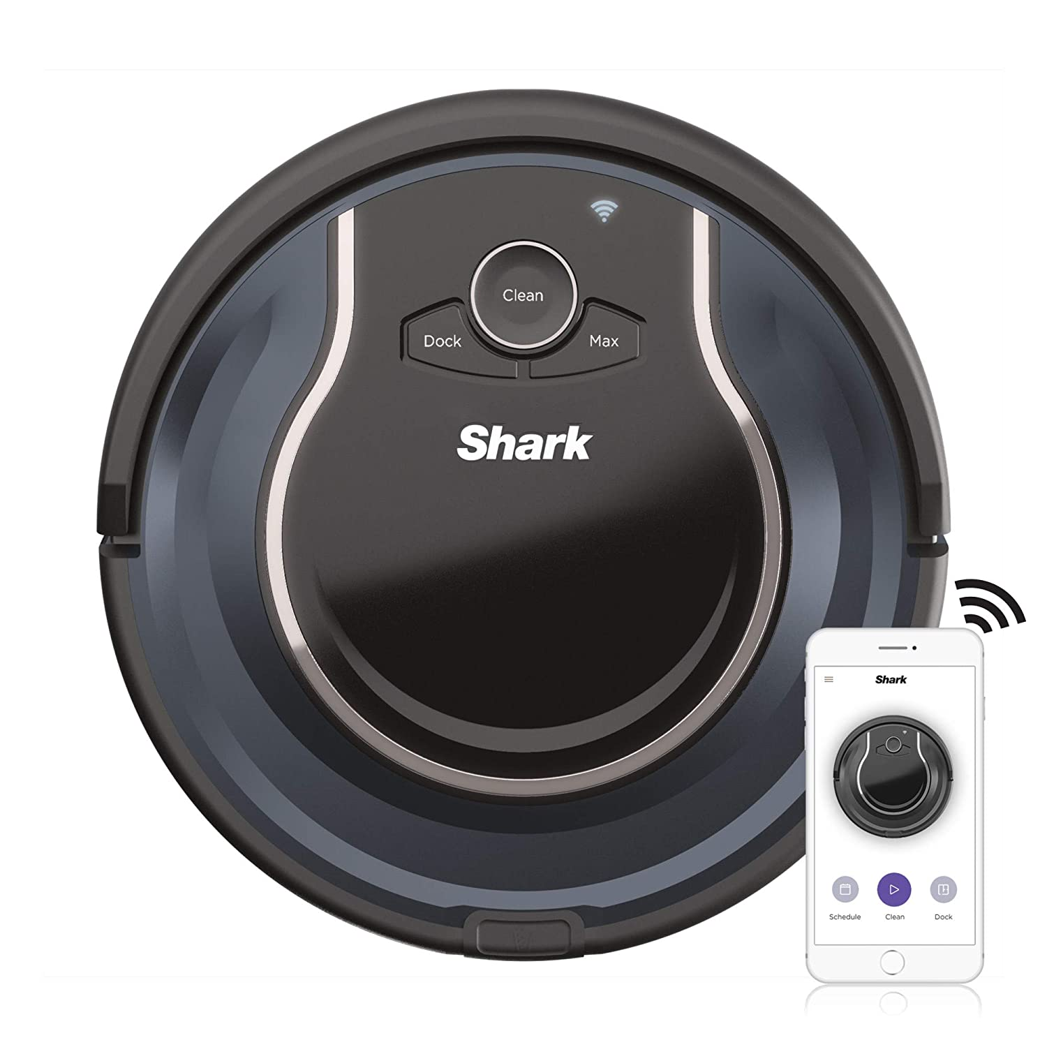 Shark ION R76 with Wi-Fi Robot Vacuum (RV761), 0.5 qt, Black and Navy Blue
