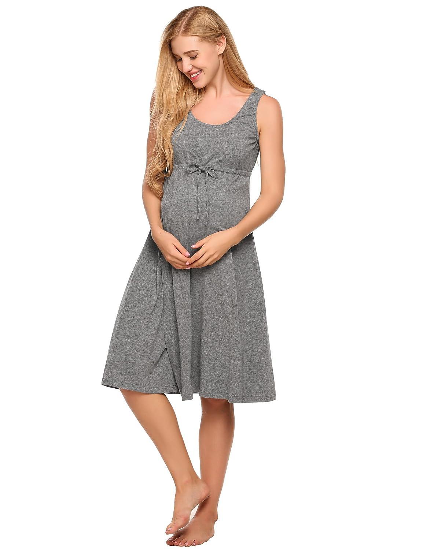 Ekouaer Womens Labor/Delivery/Hospital Gown Maternity Nursing Nightwear EKK006224_GR_L