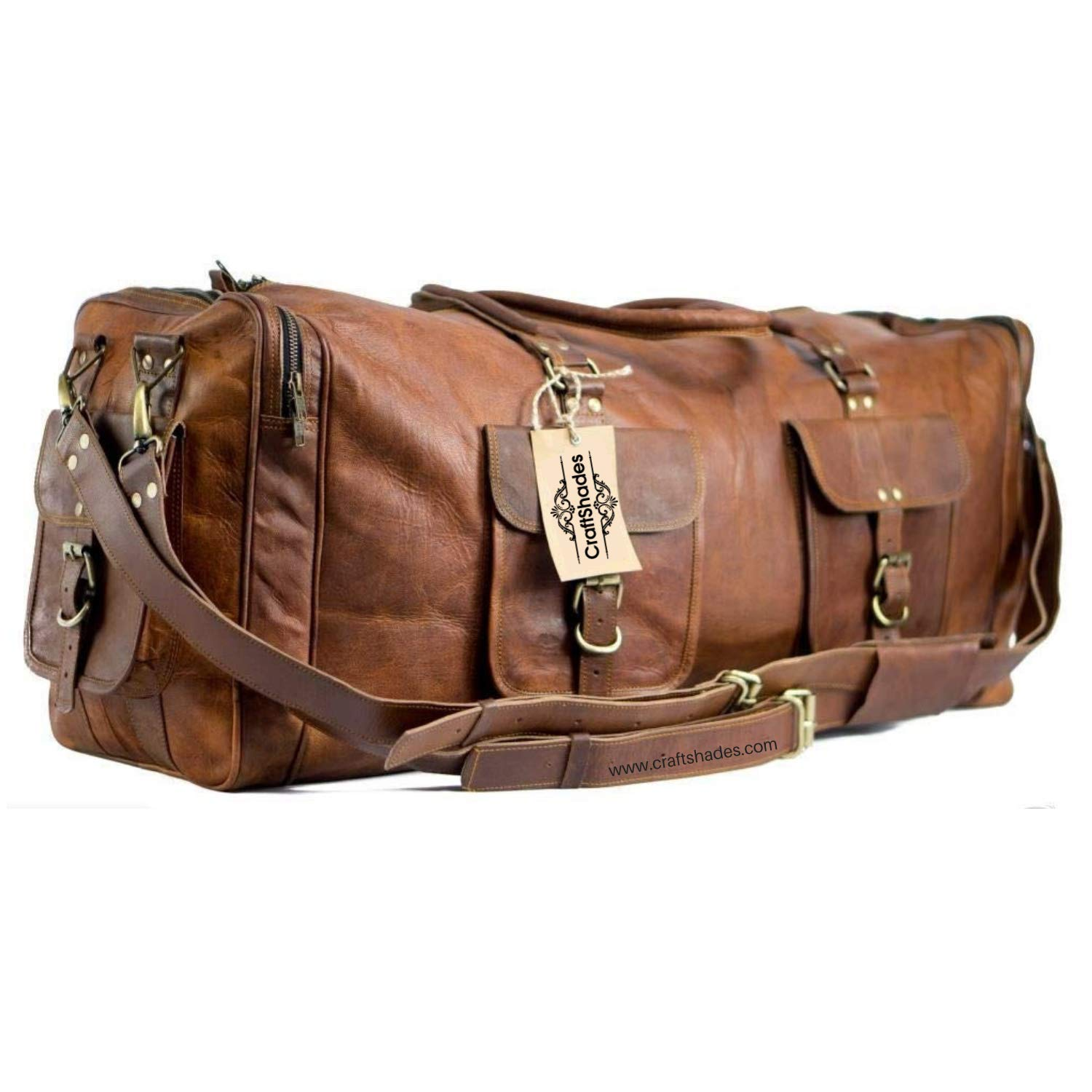 9fa9671ff6d1 CraftShades Vintage Handcrafted Leather Duffel Bag Overnight Bag Weekend Bag  Leather Gym Sports (20 inches)  Amazon.in  Bags