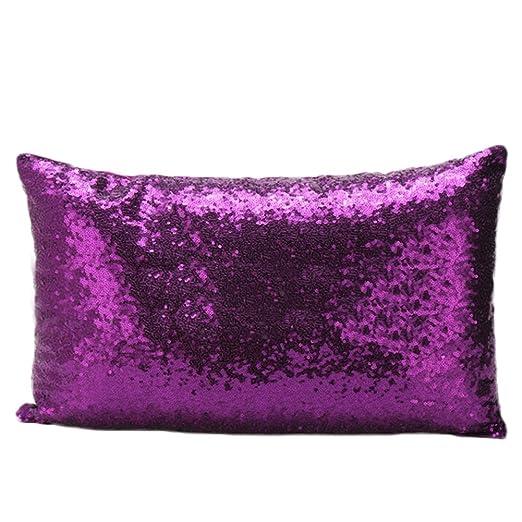 nikgic lentejuelas funda de almohada Funda para cojín, diseño de sirena funda de almohada 50 * 30 cm, Morado, 30*50CM