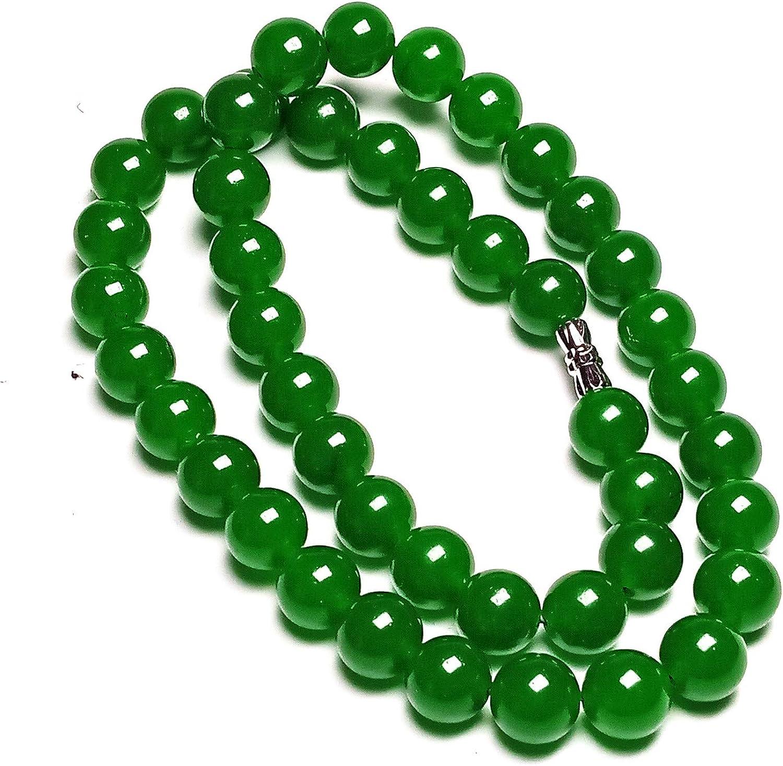 Collar de cuentas de jade verde natural de 10 mm hechas a mano para madre, 45,7 cm