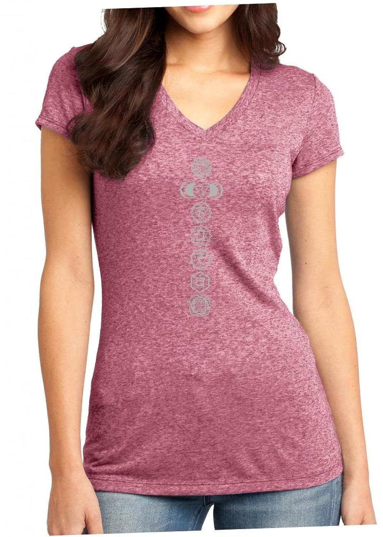 Yoga Clothing For You Juniors V-Neck 7 Chakras Sangria Tee