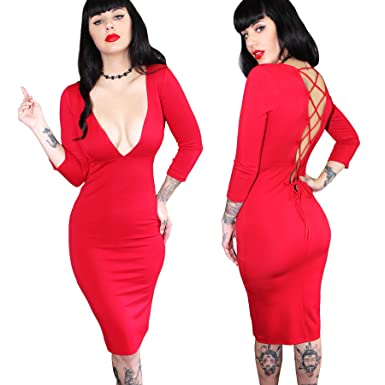 e640d8fbaa1 Sexy Cleavange Plunge Cocktail Pinup Dress with Open Corset Back ...