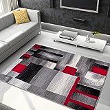 Alfombra De Salón Moderna – Color Gris Negro Rojo De Diseño Geométrico Cuadrado – Suave – Fácil De Limpiar – Mejor Calidad – Diferentes Dimensiones S-XXXL 160 x 220 cm