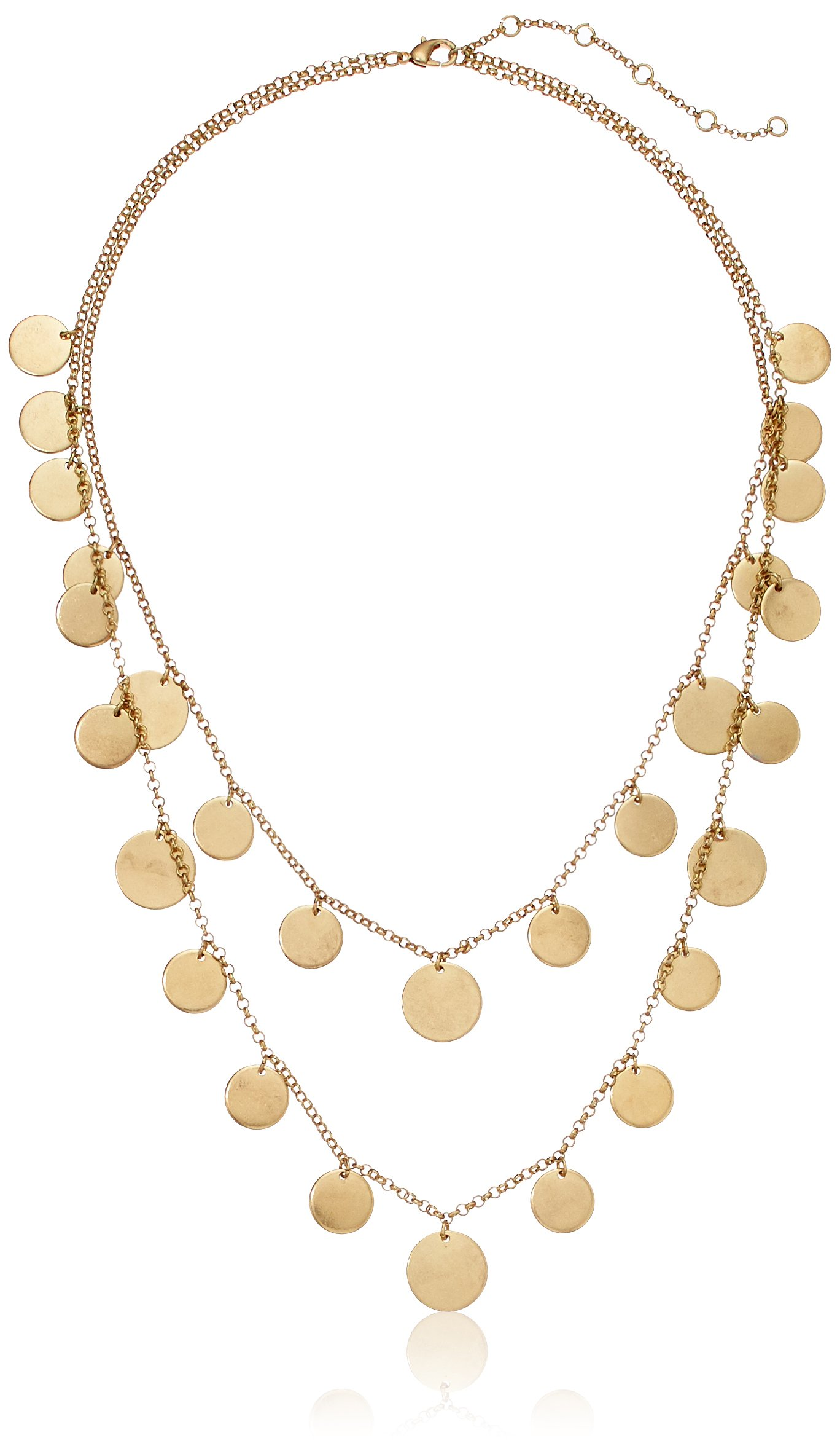 Panacea Women's Gold Two Row Disk Strand Necklace, 28