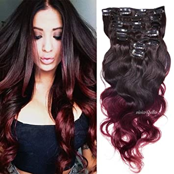 Amazon ombre clip in human hair extensions body wave clip ombre clip in human hair extensions body wave clip ins brown to blonde copper red burgundy pmusecretfo Image collections