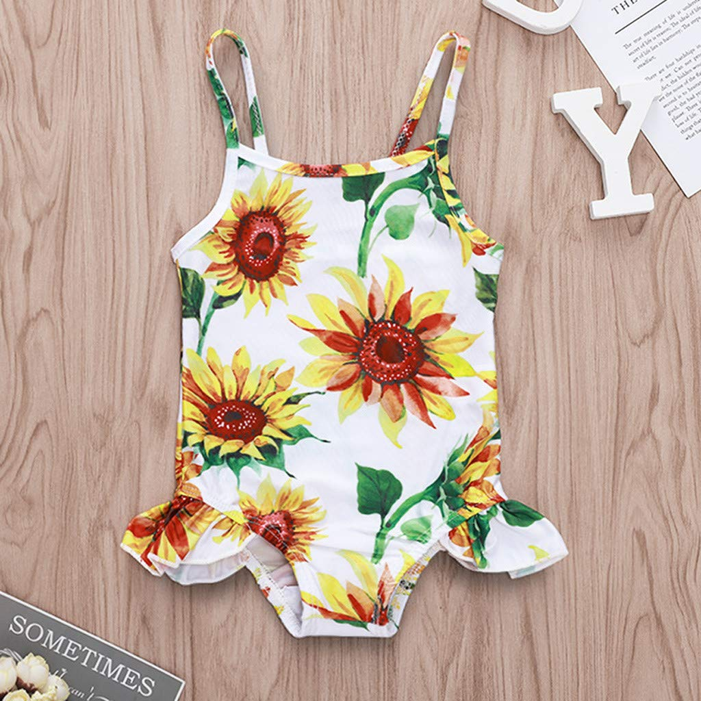 9b1caa0d2911a Amazon.com: KONFA Baby Girls One Piece Swimsuit Beach Bathing Suit Toddler  Newborn Swimwear Sunflowers Romper Rashguard Cover Up: Clothing