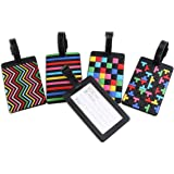 Newland 5 pcs étiquette de bagage en PVC étiquettes d'identité de valises de valises de voyage pour avion (5 style color)
