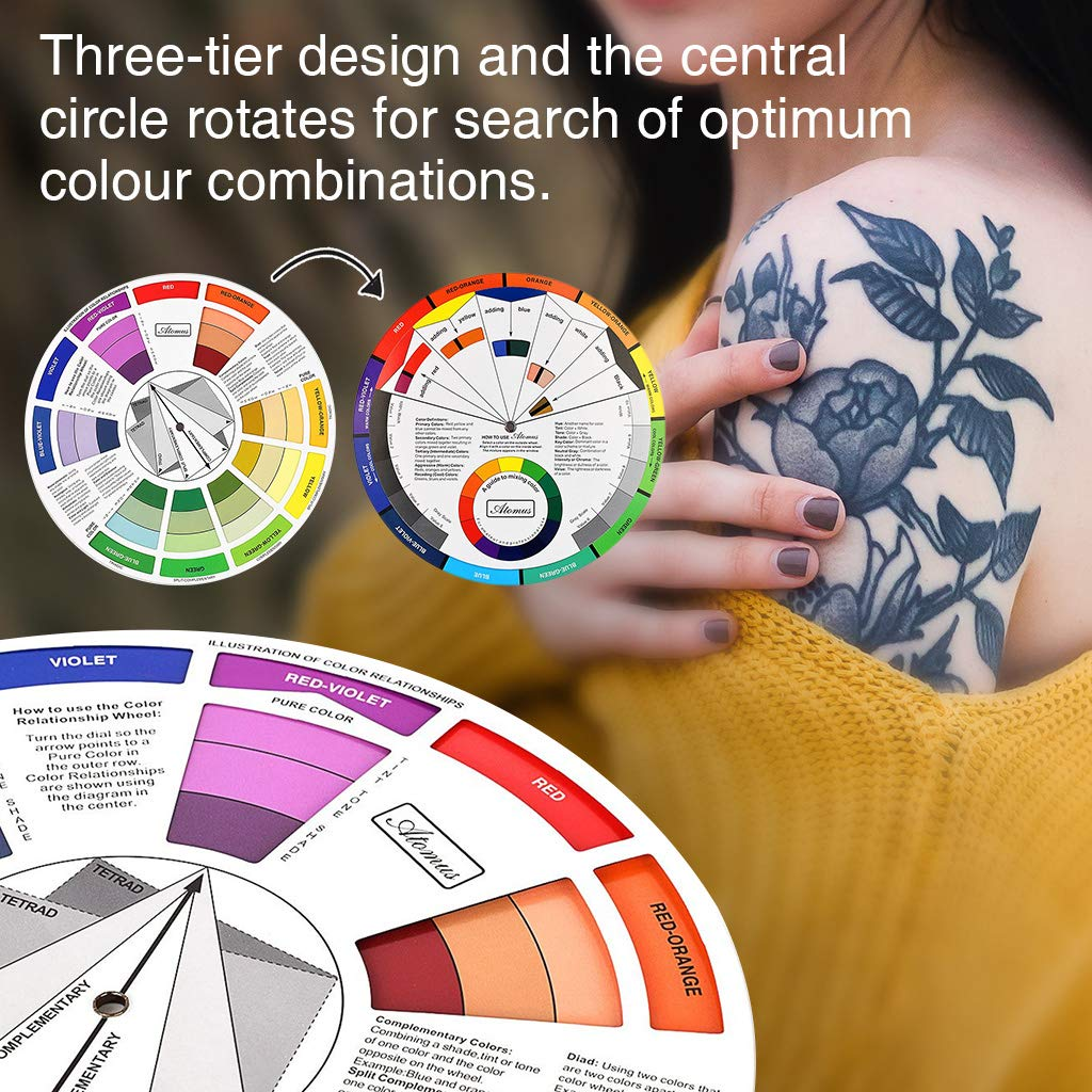 3Pcs Artist Tattoo Pigment Paint Color Mixing Guide Palette Wheel Matching Chart Board Color Selection Tool
