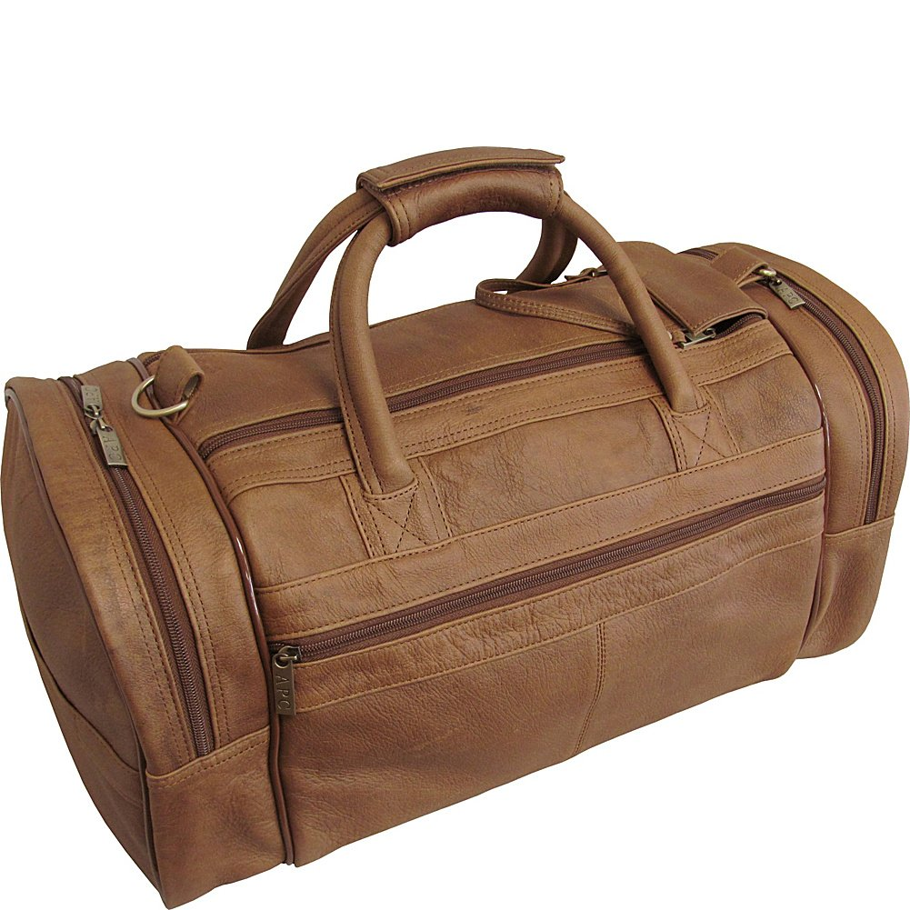 "AmeriLeather 20"" Leather Dual Zippered Duffel (Distressed Brown)"