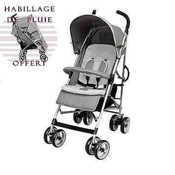 Poussette canne bébé luxe 4 roues multi positions
