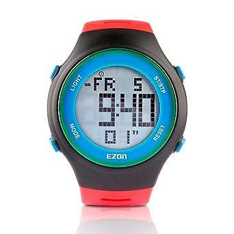EZON L008B11 Relojes Digitales de los Hombres con Alarma Cronómetro Cuenta Regresiva 50 años Calendario Reloj de Pulsera Impermeable Rojo: Amazon.es: ...