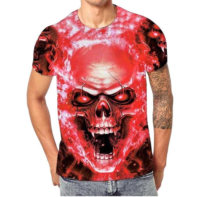 Camisetas Calaveras Hombre Manga Corto LHWY, Camisetas De Cuello Redondo con Estampado De 3D Blusa