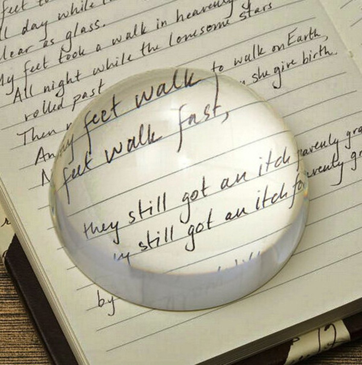 HITSAN 100mm Large Magnifying Glass Dome Paperweight Crystal Hemisphere Magnifier Reading Aid One Piece by HITSAN