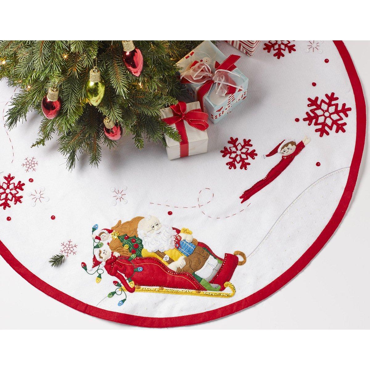 Bucilla Papá Noel y Scout Elfo Árbol Falda Fieltro Apliques kit-43 ...