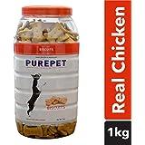 Purepet Chicken Flavour Real Chicken Biscuit Dog Treats Jar, 1kg