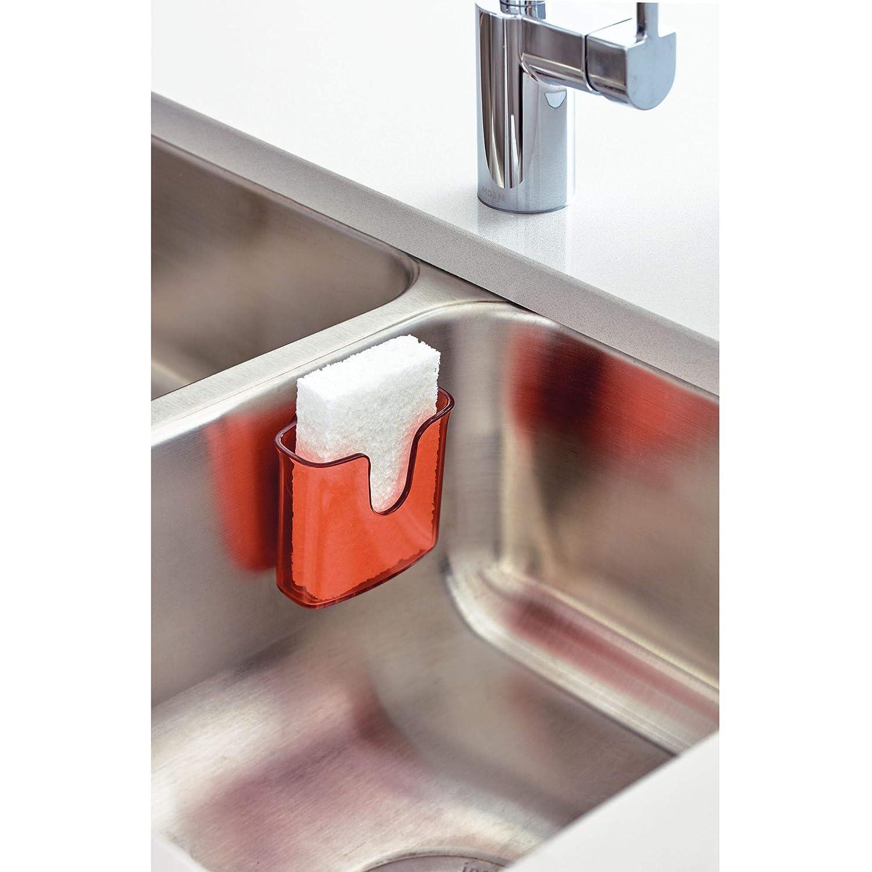 iDesign Estropajero Organizador de Fregadero para esponjas o estropajos de Cocina 9,8 cm x 5,1 cm x 8,4 cm peque/ño Porta pl/ástico con Ventosa Gris