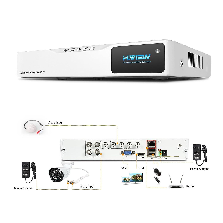 Haus /Überwachungskamera mit aufnahme iphone H.View 1.0 MP HD /Überwaschungskamera System,4 x 720P HD-Kamera und 4CH Videorecorder//DVR mit 1TB Festplatte indoor//outdoor Kamera Bewegungserkennung durch Android phone