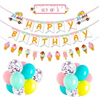 Ice Cream Party Favor Decorations Ice Cream Happy Birthday Banner Popsicle Garland...