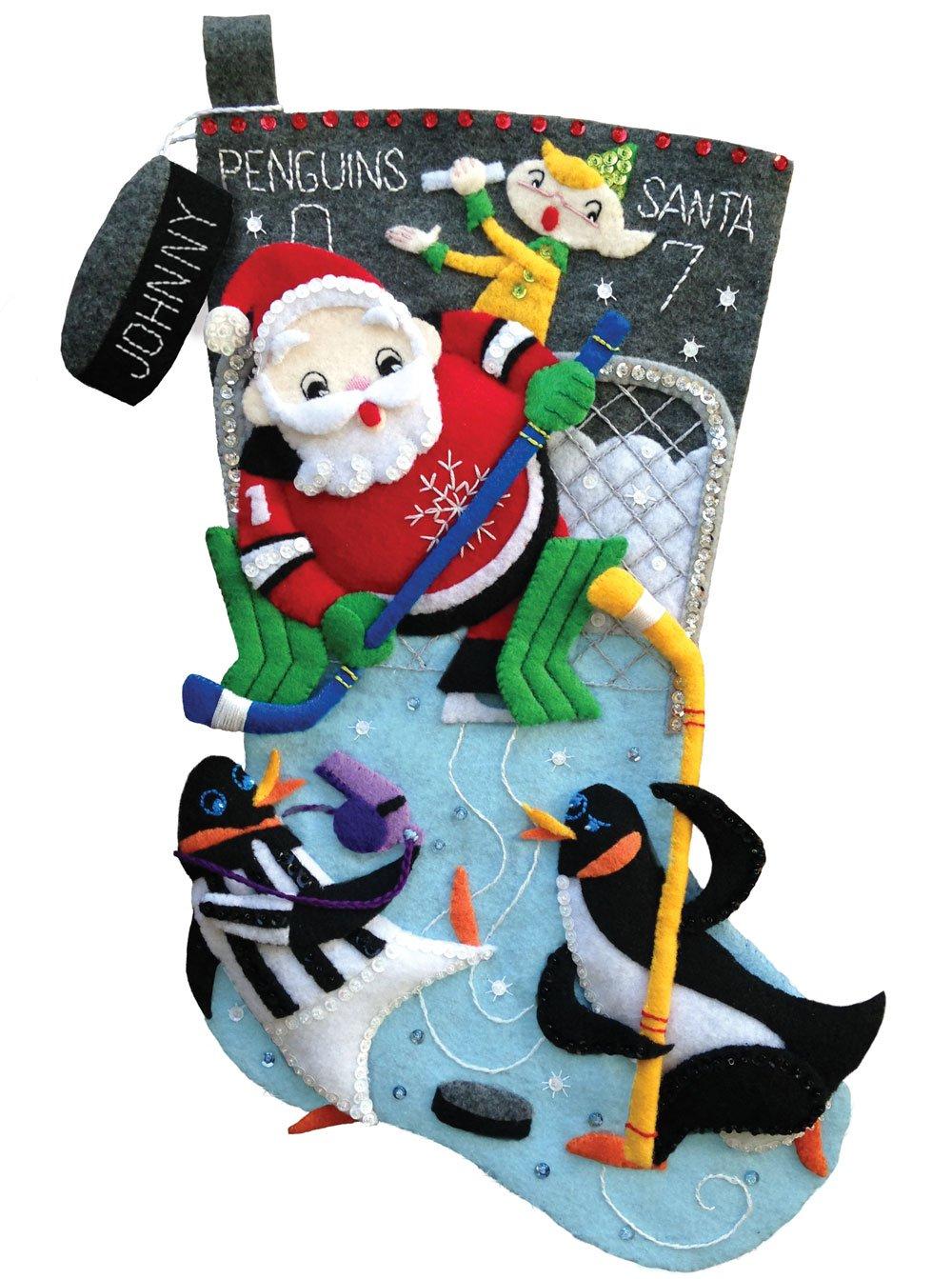 Pond Hockey 18' Felt Christmas Stocking Kit